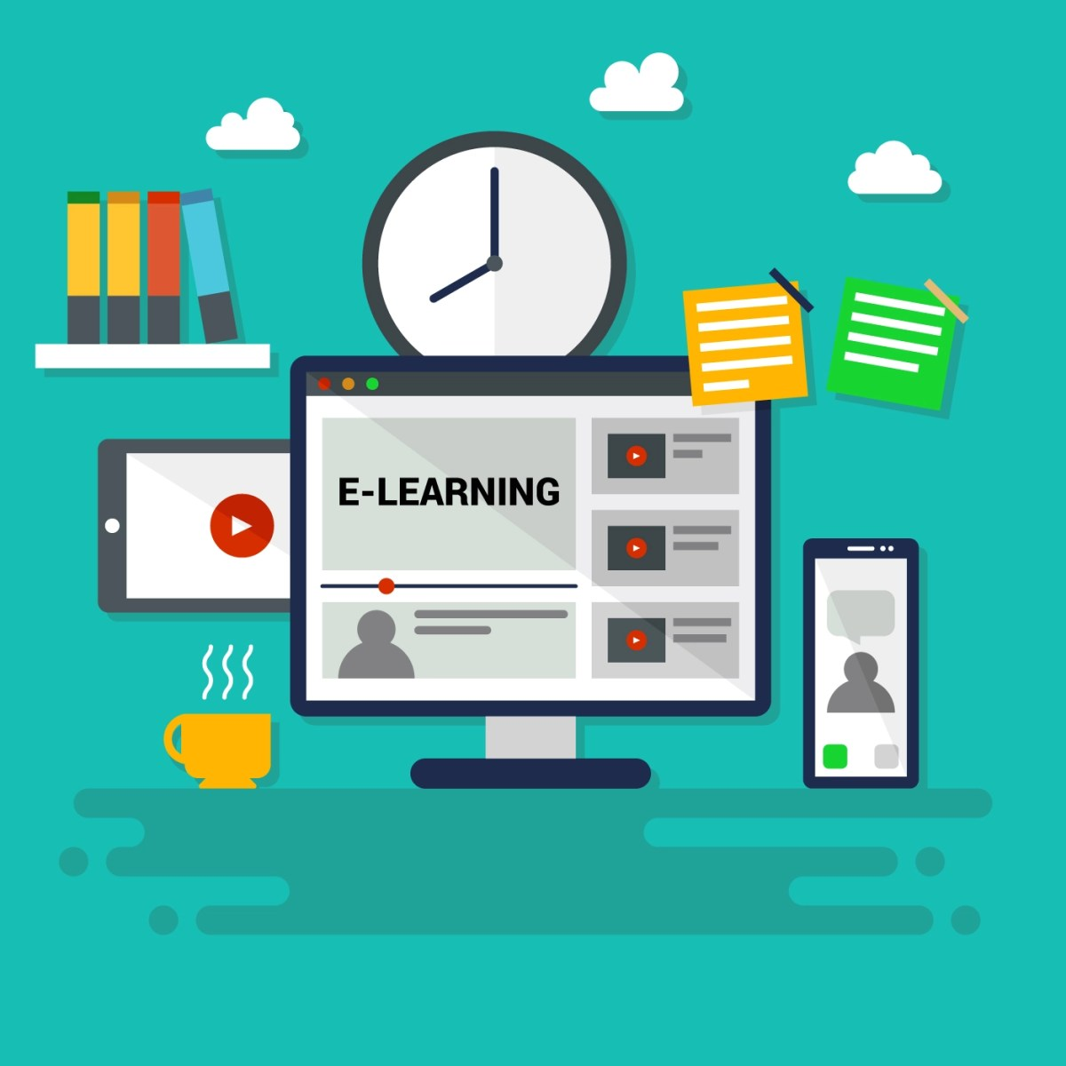 Iconic E-Learning Vector - Download Free Vectors, Clipart Graphics & Vector  Art