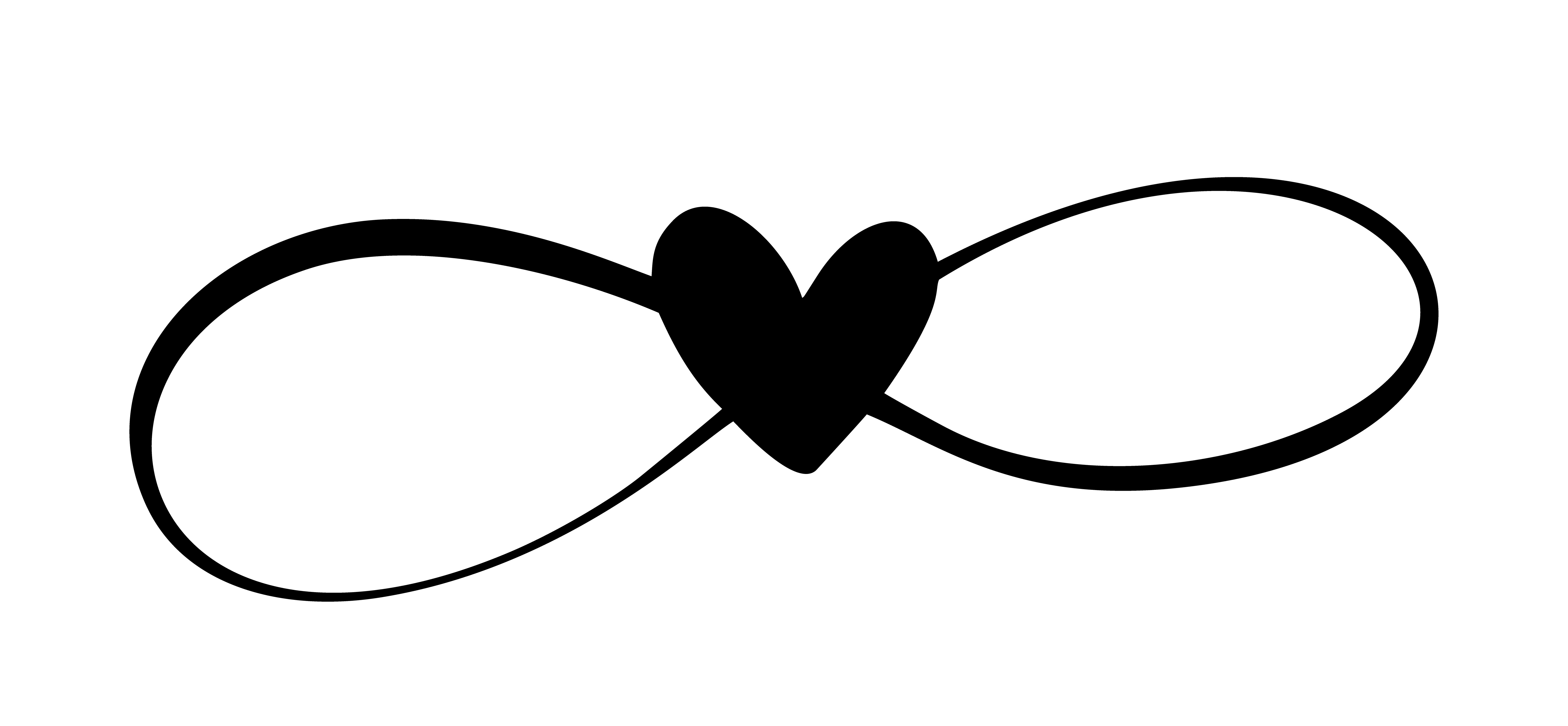 Love heart In the sign of infinity. Sign on postcard to