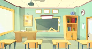 classroom cartoon background empty vector illustration inside chalkboard college interior training furniture desks chairs graphicriver concept education university projector table
