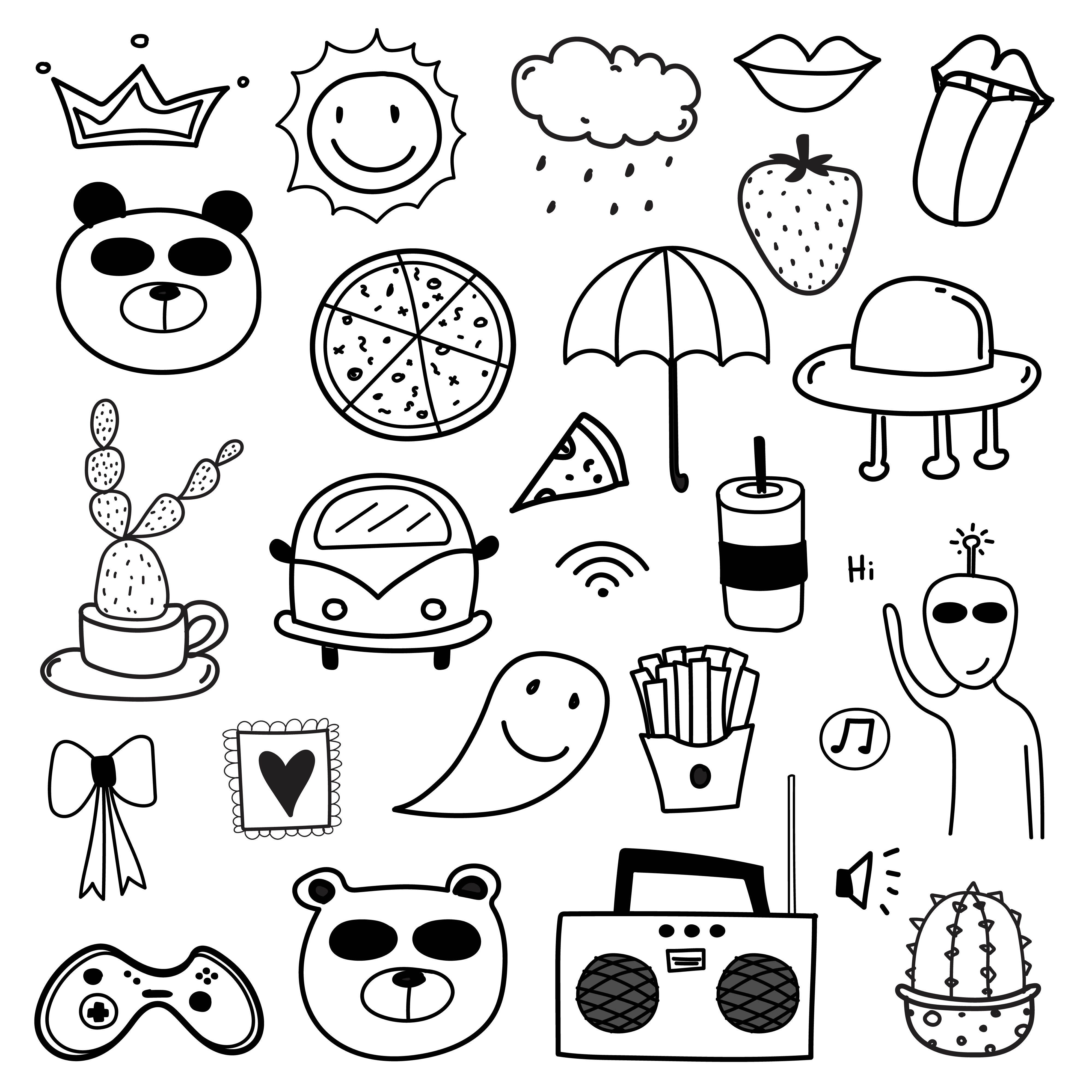 Hand Drawn Doodle Lovely Vector Set Doodle Funny Set