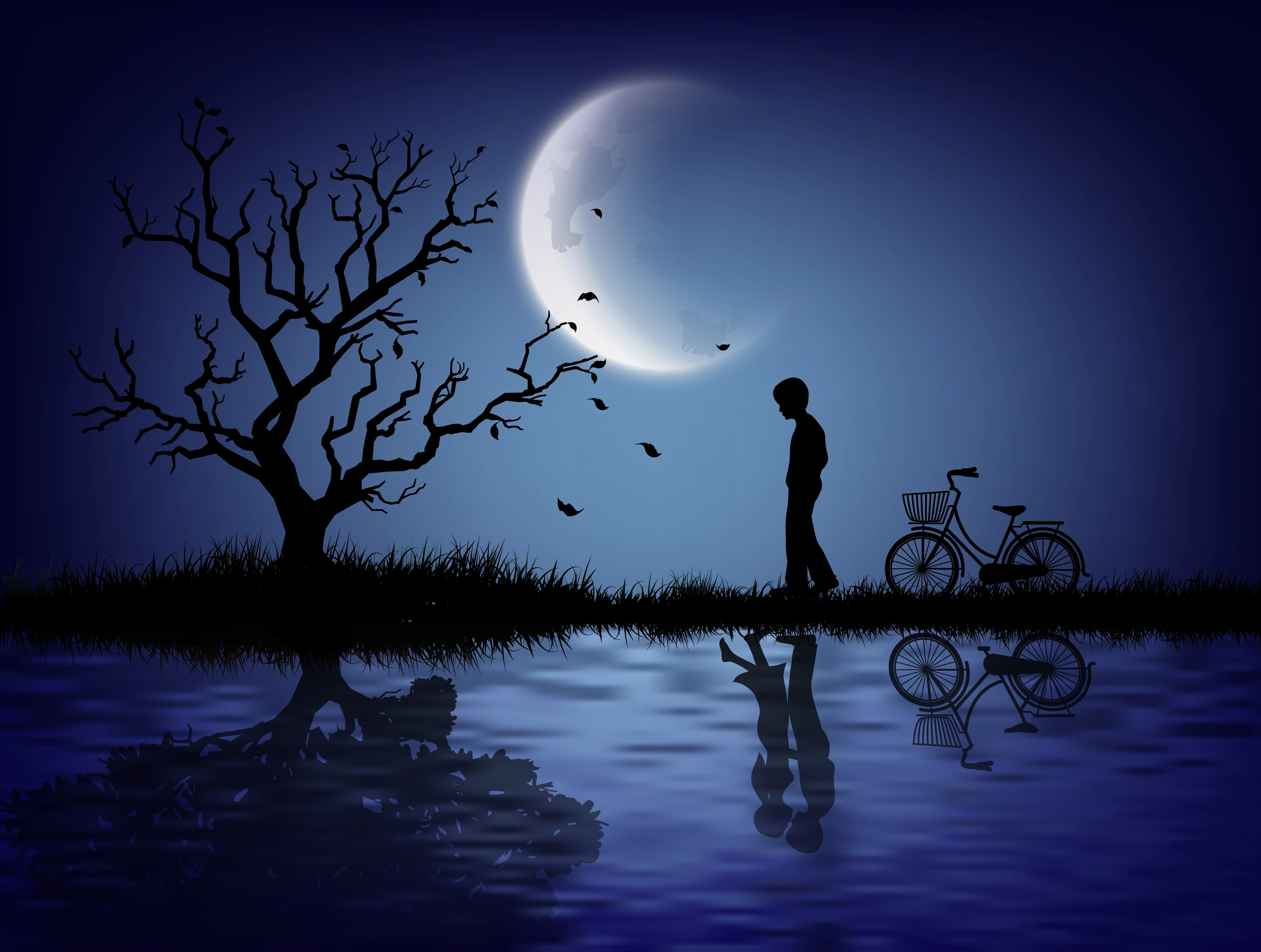 A Sad Girl Wallpaper The Silhouette Of A Lonely Man Download Free Vectors