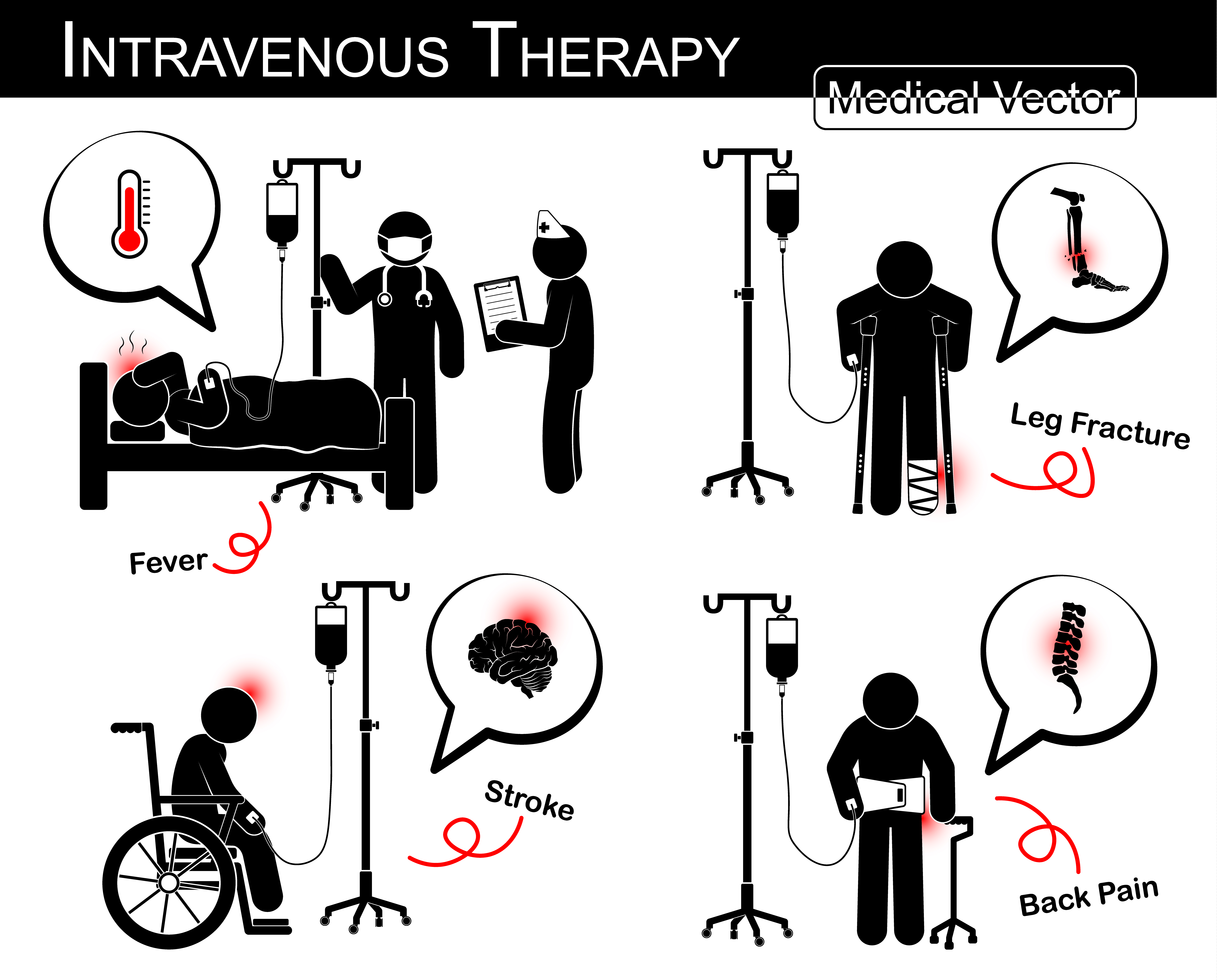 Set Of Vector Stick Man Patient With Multiple Disease