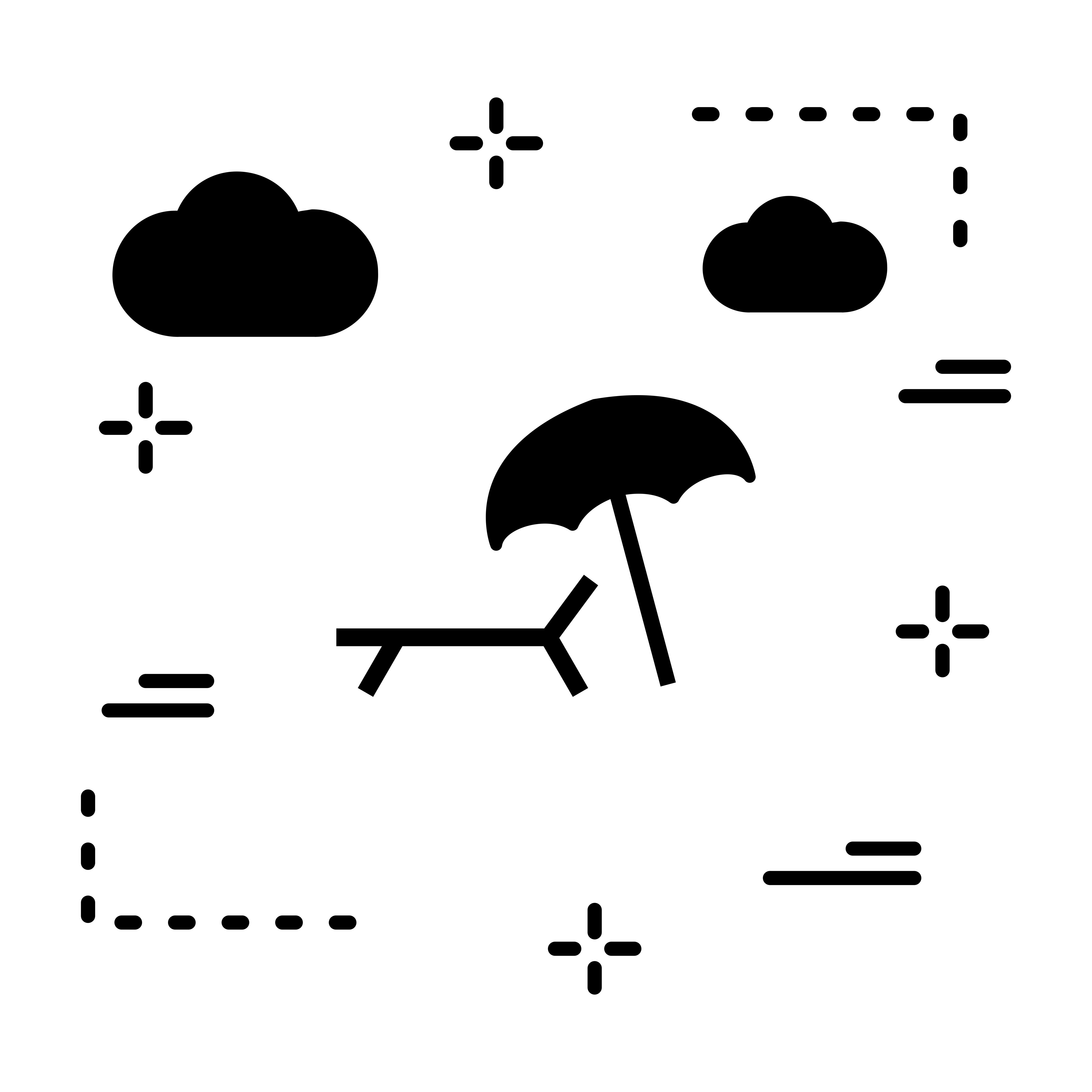 Vector Beach Umbrella And Chair Icon