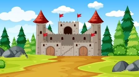 fantasy vector castle background icons scene clipart premium vectors