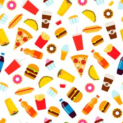 Colorful fast food seamless pattern Junk food vector repeating background for textile design wrapping paper wallpaper Download Free Vectors Clipart Graphics & Vector Art