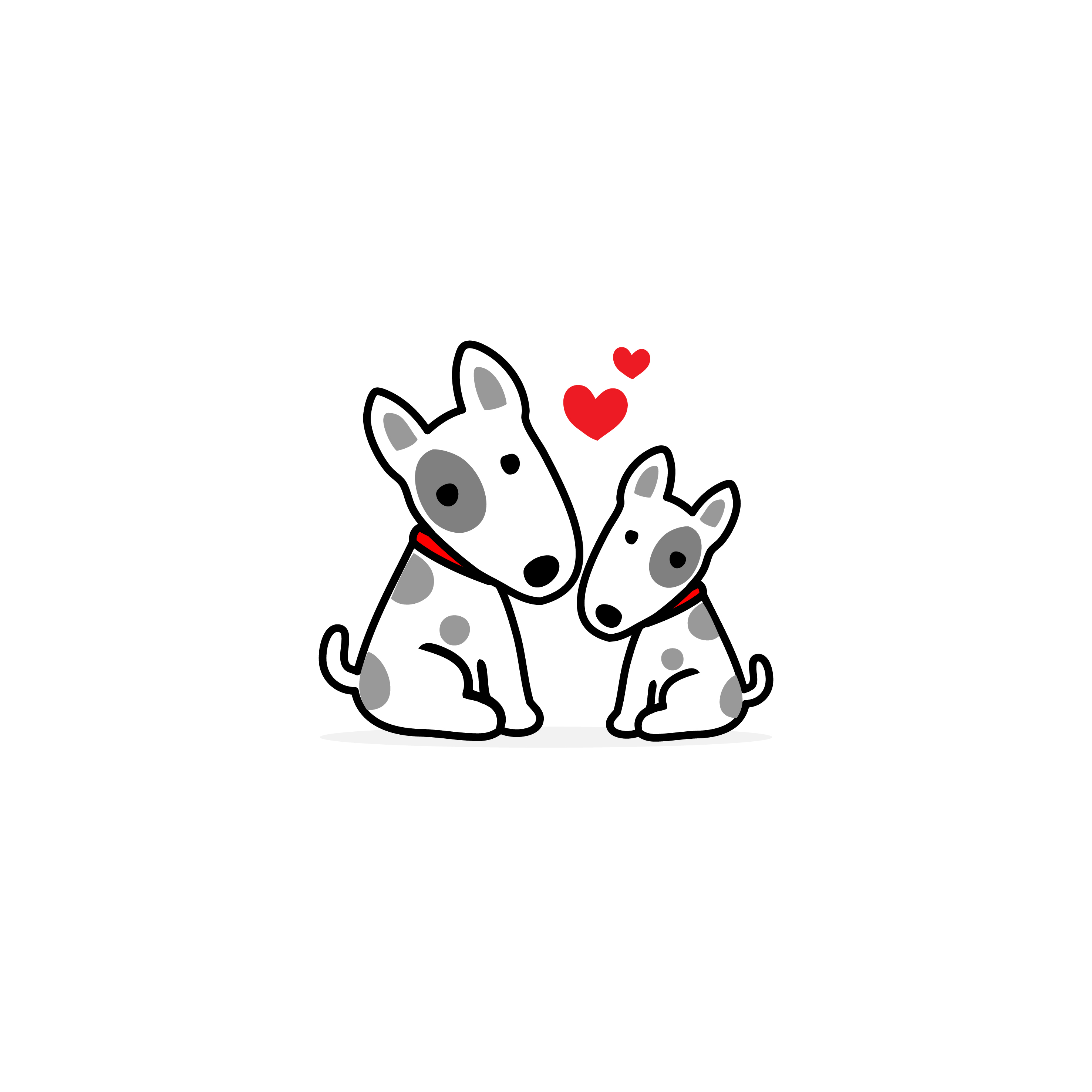 Mom And Baby Dog Cartoon White Background