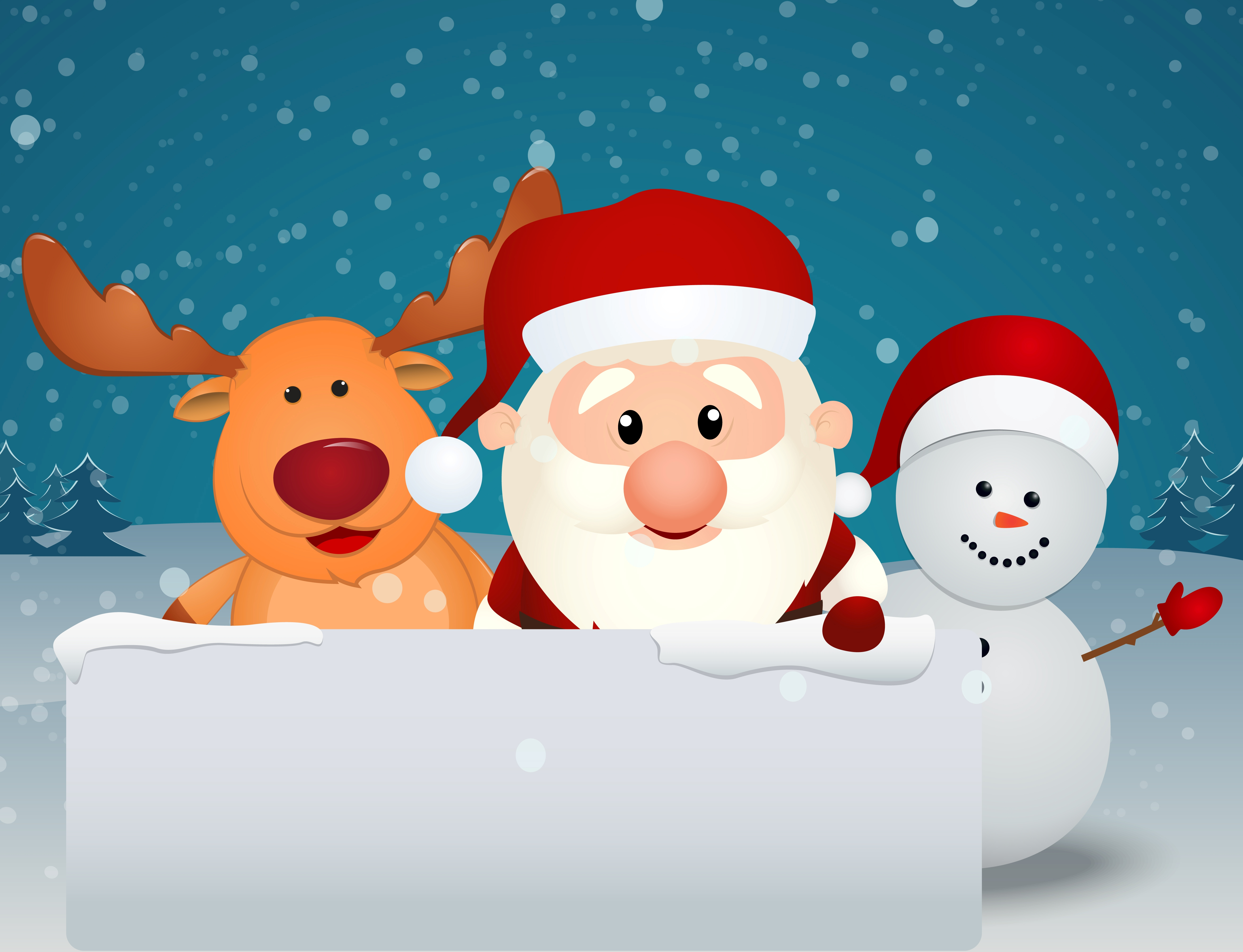 Santa Claus With Reindeer And Snowman