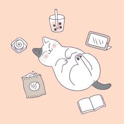 cat sleeping cartoon cute vector clipart