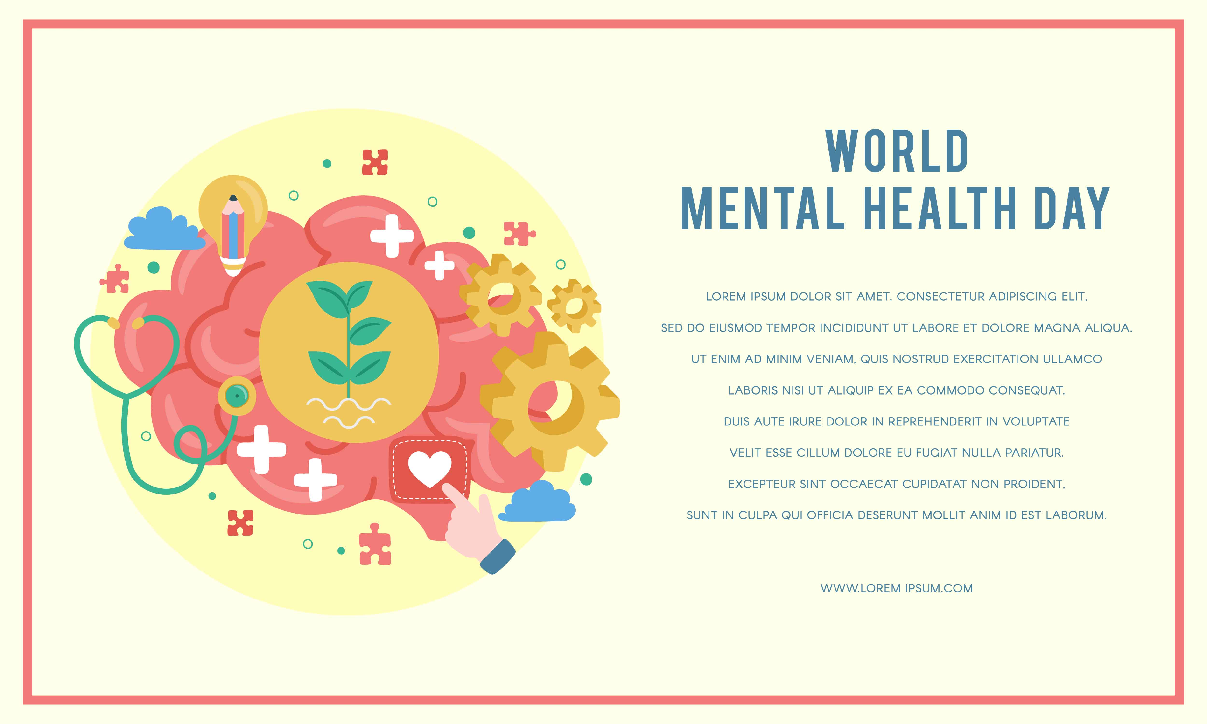 World Mental Health Day Poster Mental Growth Clear Your