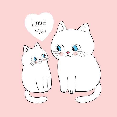 Cartoon Cute Mom And Baby Cat Vector Download Free Vectors Clipart Graphics Vector Art