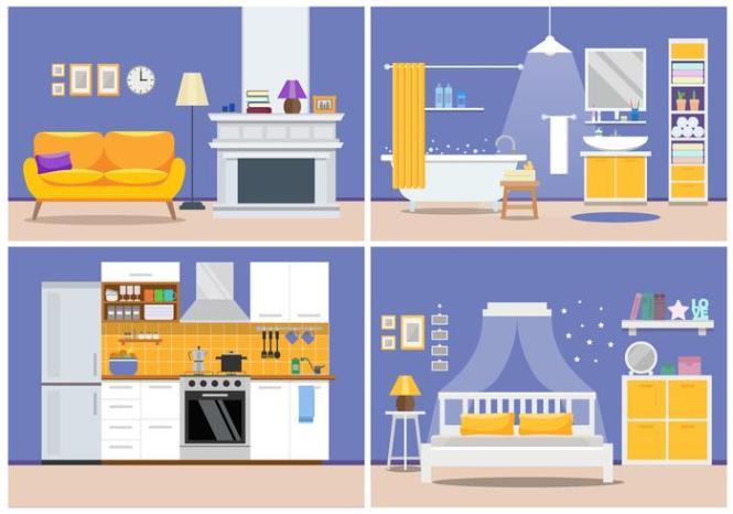 Cute Modern Apartment Interior Living