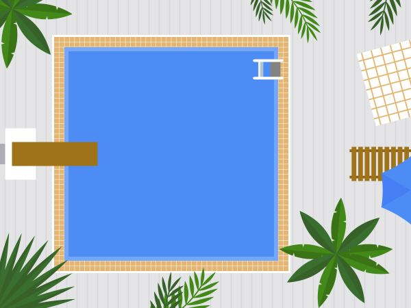 Summer Holiday Top View Swimming Pool Vector
