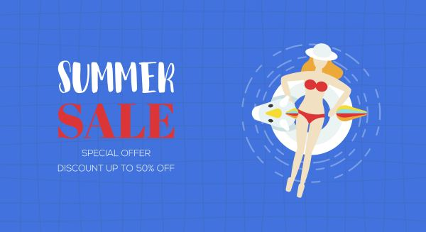 Summer Poster Top View Swimming Pool Vector