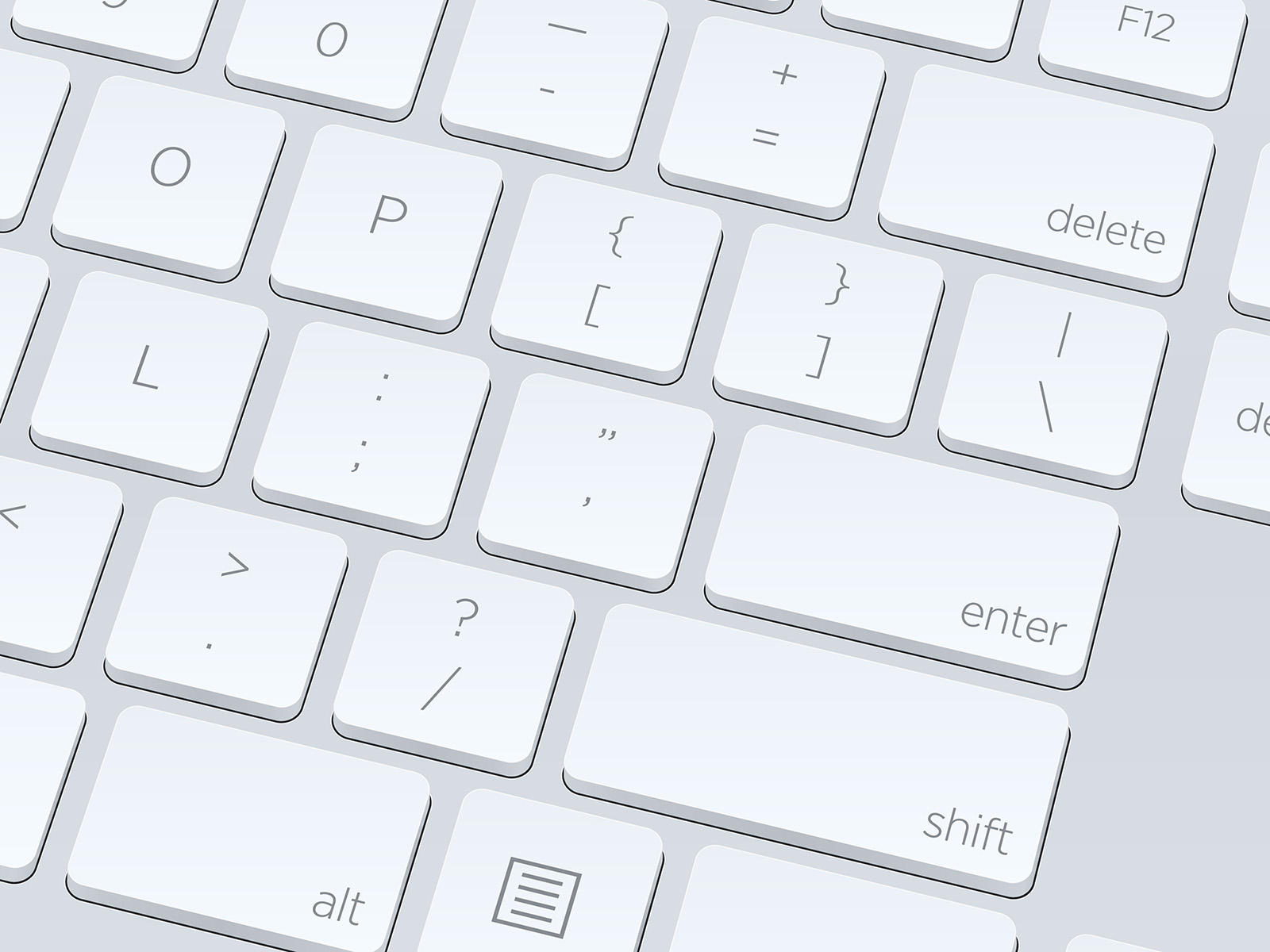 White Blank Computer Keyboard Close Up Vector Image
