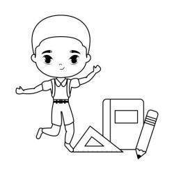 Cute School Boy Clipart Black And White Jameslemingthon Blog