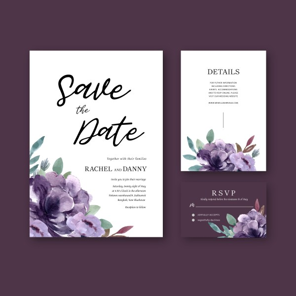 Happy Wedding Card Floral Garden Invitation Marriage