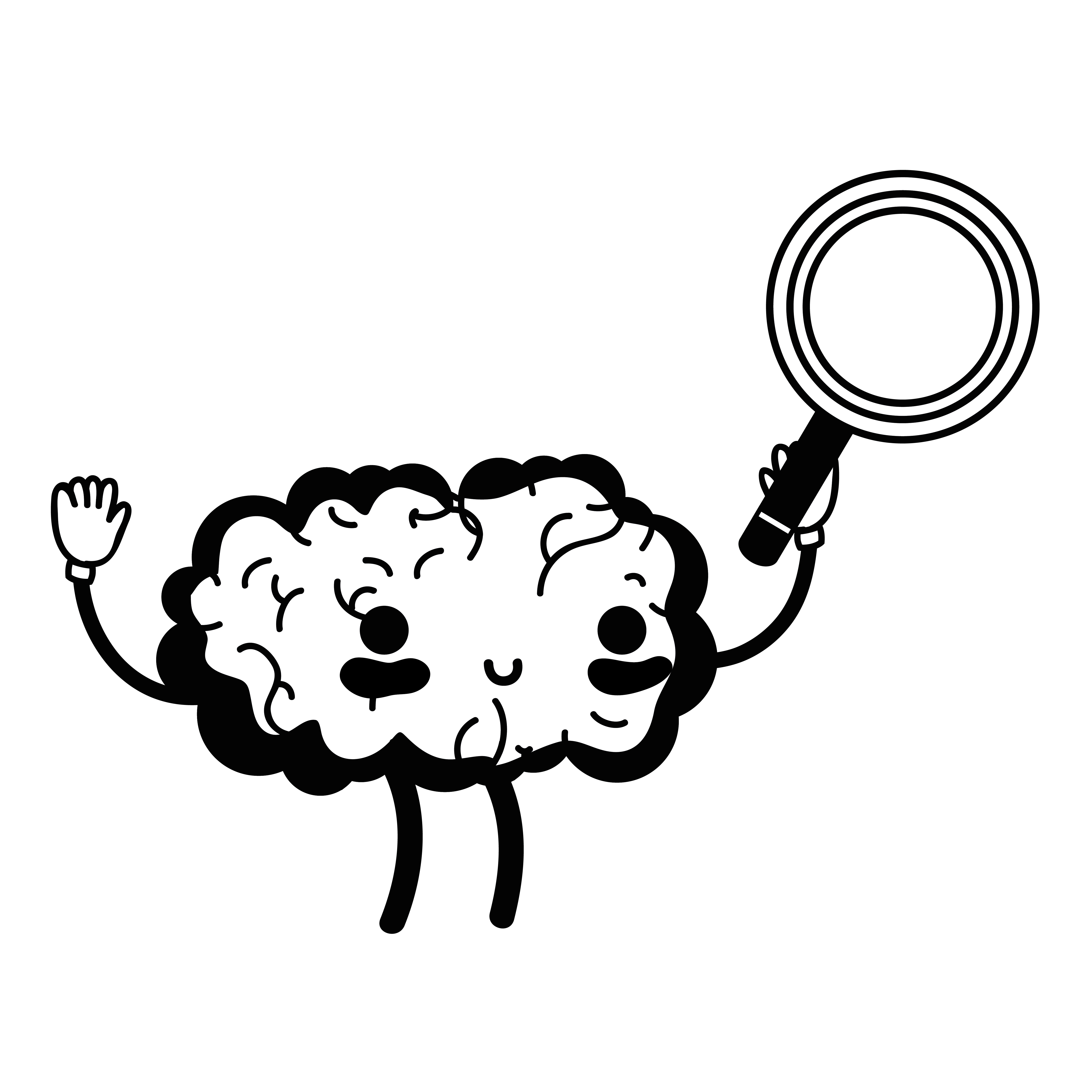 Contour Kawaii Happy Brain With Magnifying Glass