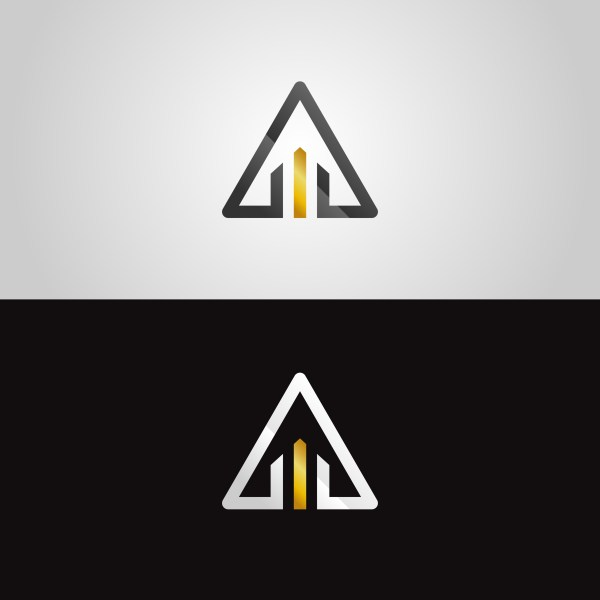 Abstract Gold-silver Triangle Logo - Free Vector