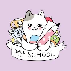 Cartoon cute back to school cat and stationary vector Download Free Vectors Clipart Graphics & Vector Art
