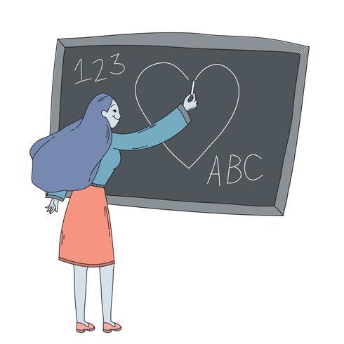 Happy Teachers Day Teacher Drawing On Chalkboard Download Free Vectors Clipart Graphics Vector Art