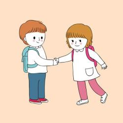student greeting boy vector clipart cartoon cute
