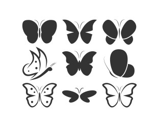 Butterfly silhouette logo icon set Download Free Vectors Clipart Graphics & Vector Art