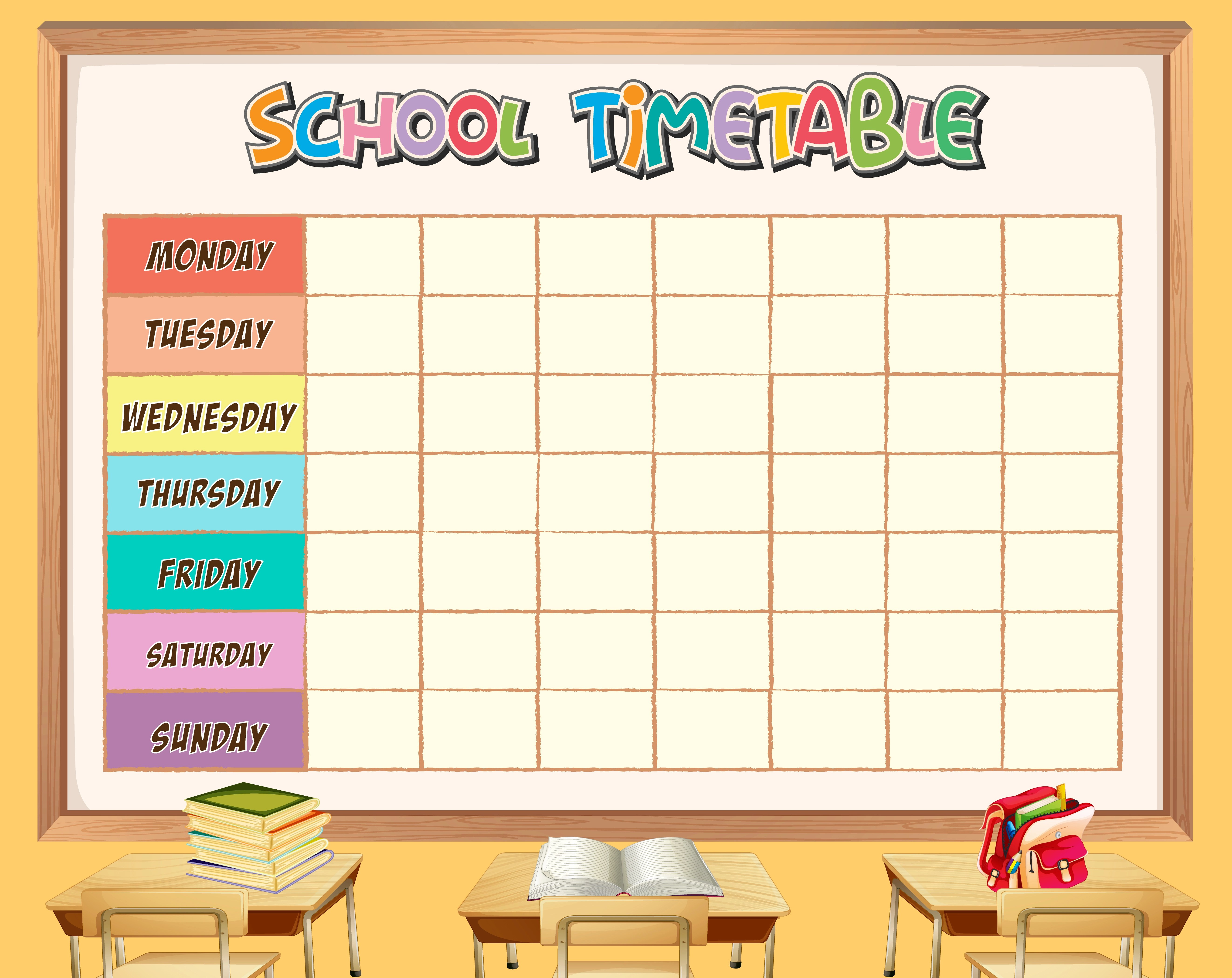 School Timetable Template With Classroom Theme