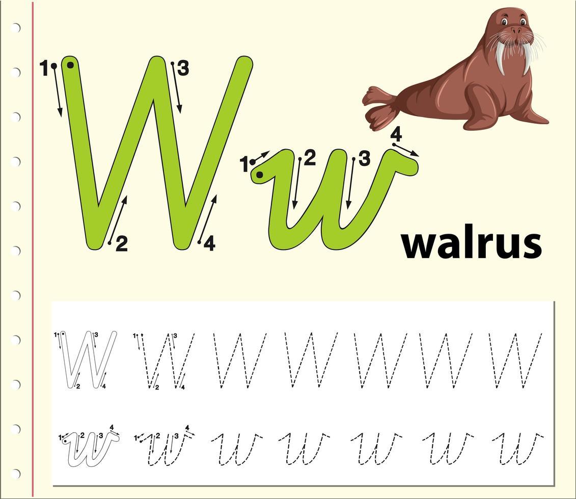 Letter W Tracing Alphabet Worksheets