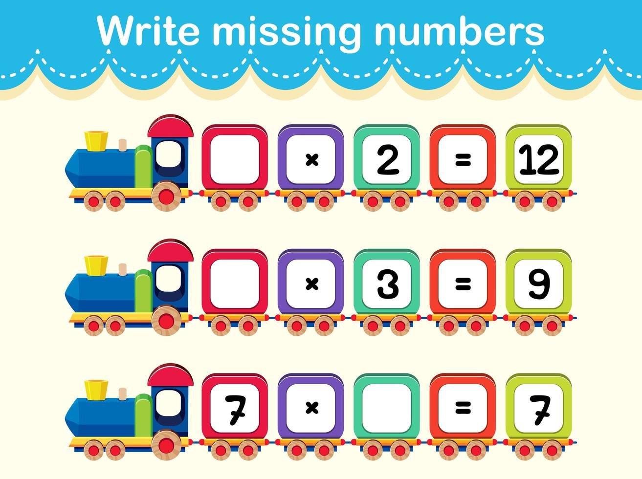 Write The Missing Numbers Train