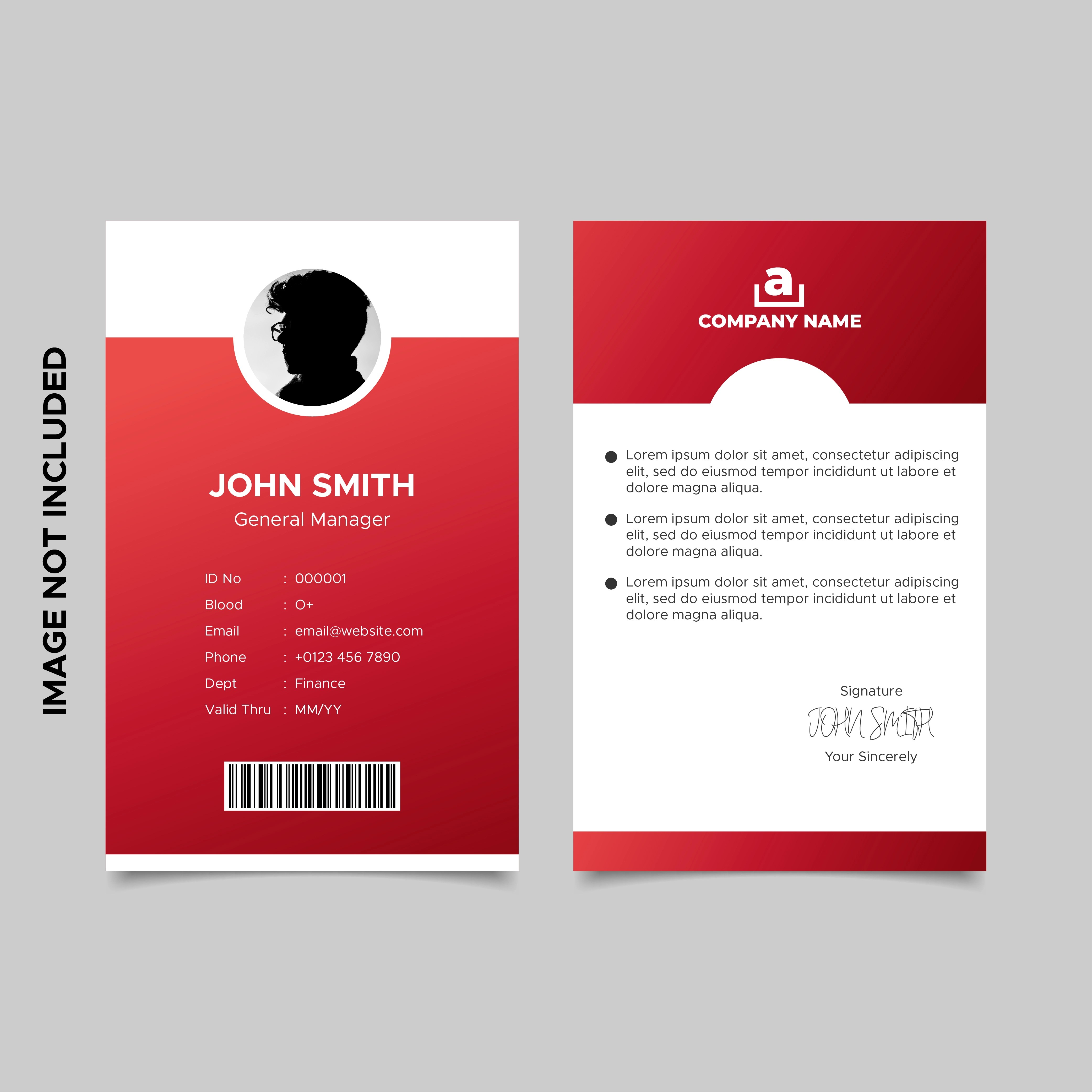 Id card design templates free to download. Red Employee Id Card Template 830621 Vector Art At Vecteezy