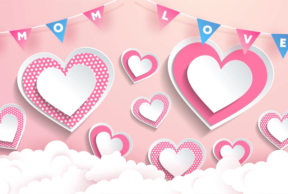 Download Mom Love Text in Garland Pink Heart Design - Download Free ...