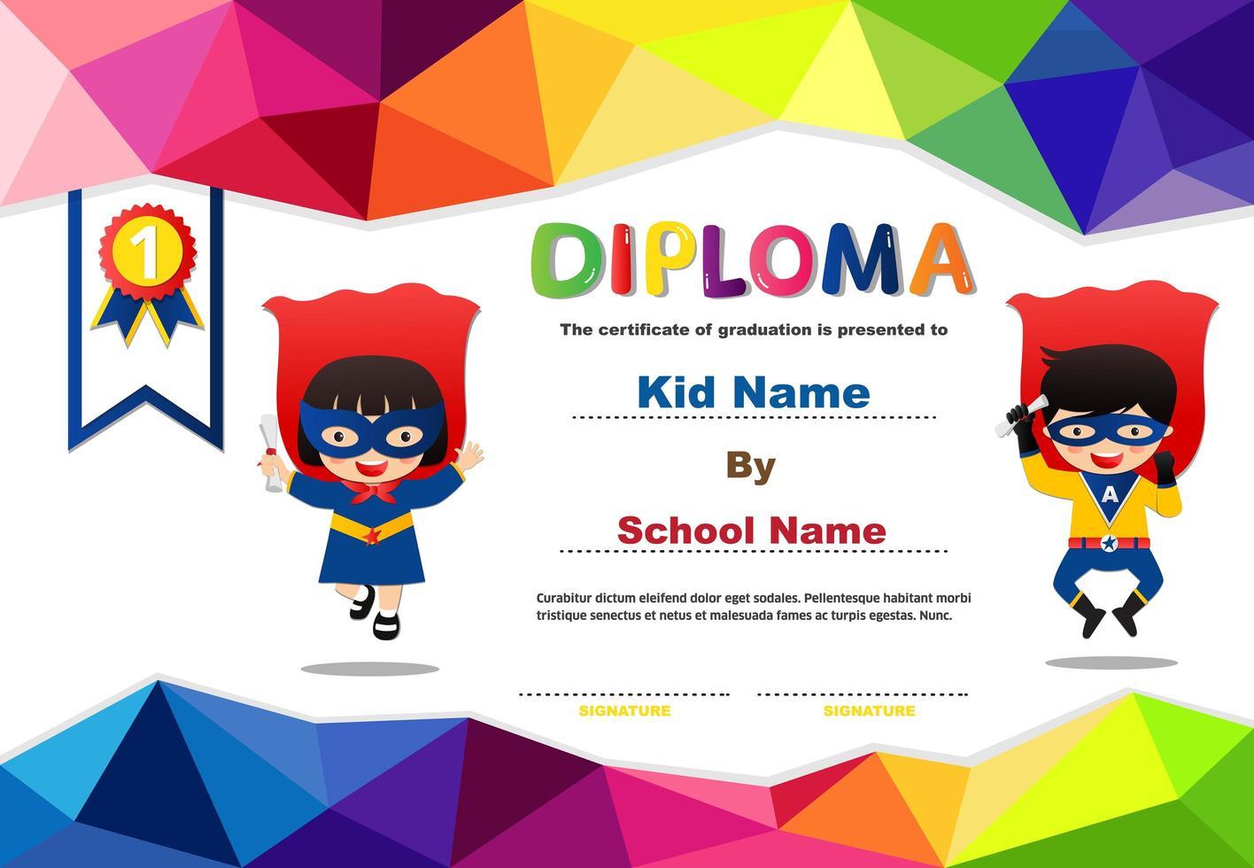 Polygona Preschool Superhero Kids Diploma