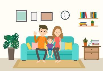 Cartoon Happy Family on Sofa at Home Download Free Vectors Clipart Graphics & Vector Art