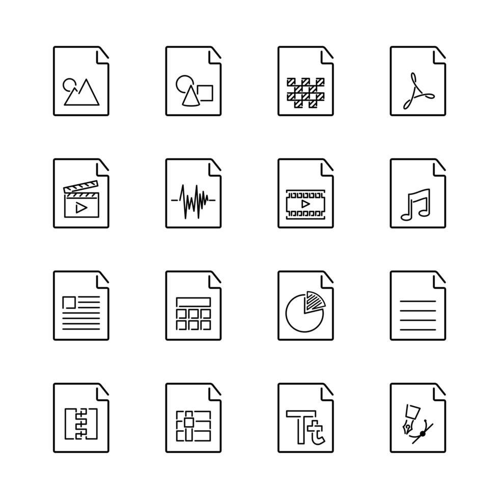 conjunto de ícones básicos de extensão de arquivo com