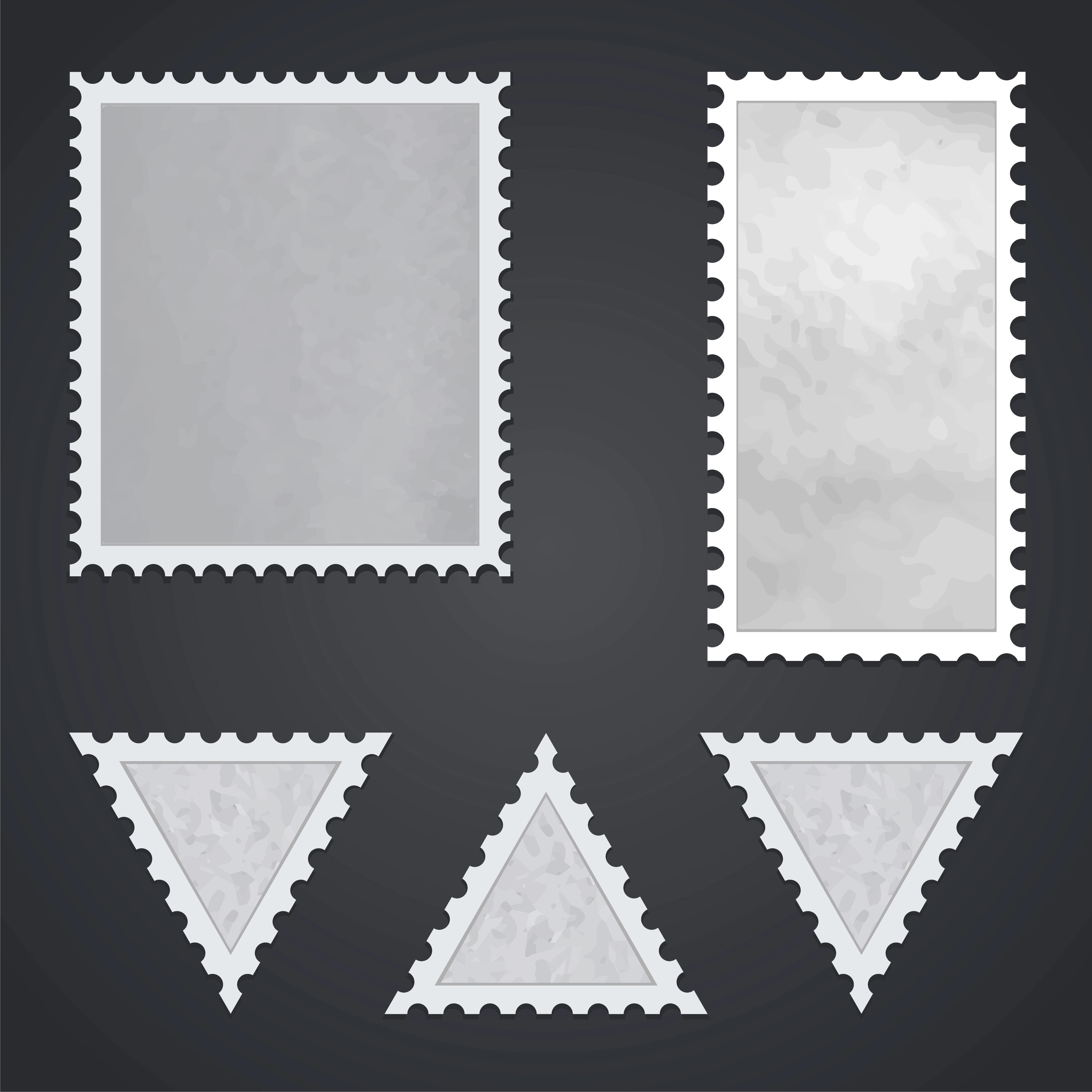 Set Of Blank Postage Stamps Isolated