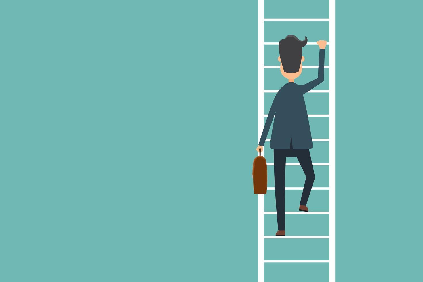 Business Man Climbing Ladder To Success