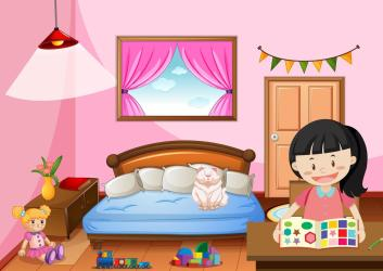 Bedroom of girl in pink color theme with a girl Download Free Vectors Clipart Graphics & Vector Art
