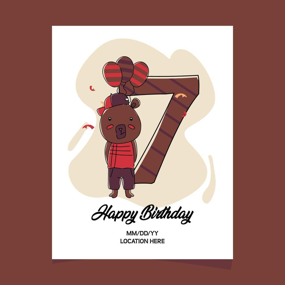 https www vecteezy com vector art 1829012 7th birthday party invitation card with cartoon baby animal bear character design