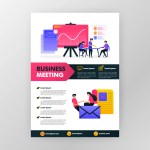 Business Meeting Poster With Flat Cartoon Illustration Flayer Business Pamphlet Brochure Magazine Cover Design Layout Space For Advertising Promotion And Marketing Vector Print Template In A4 Size Download Free Vectors Clipart Graphics Vector Art