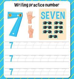 Writing practice number 7 worksheet 1929341 - Download Free Vectors [ 980 x 852 Pixel ]