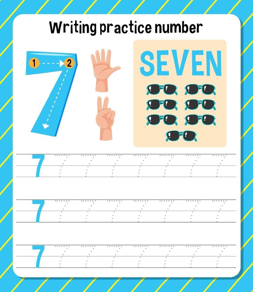 hight resolution of Writing practice number 7 worksheet 1929341 - Download Free Vectors