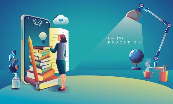 Online Education Application learning worldwide on phone, mobile website background. social distance concept. The classroom training course, library Vector Illustration Flat Design 1937625 Vector Art at Vecteezy