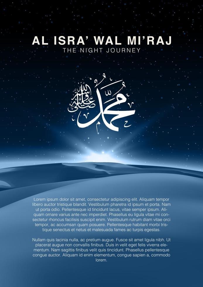 Background Isra Mi Raj : background, Al-Isra, Mi'raj, Means, Night, Journey, Prophet, Muhammad,, Multipurpose, Brochure, Background, Template, Size., Download, Vectors,, Clipart, Graphics, Vector