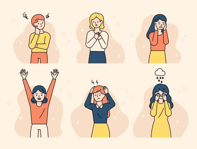 The girls are expressing various emotions. flat design style minimal vector  illustration. 2531116 Vector Art at Vecteezy