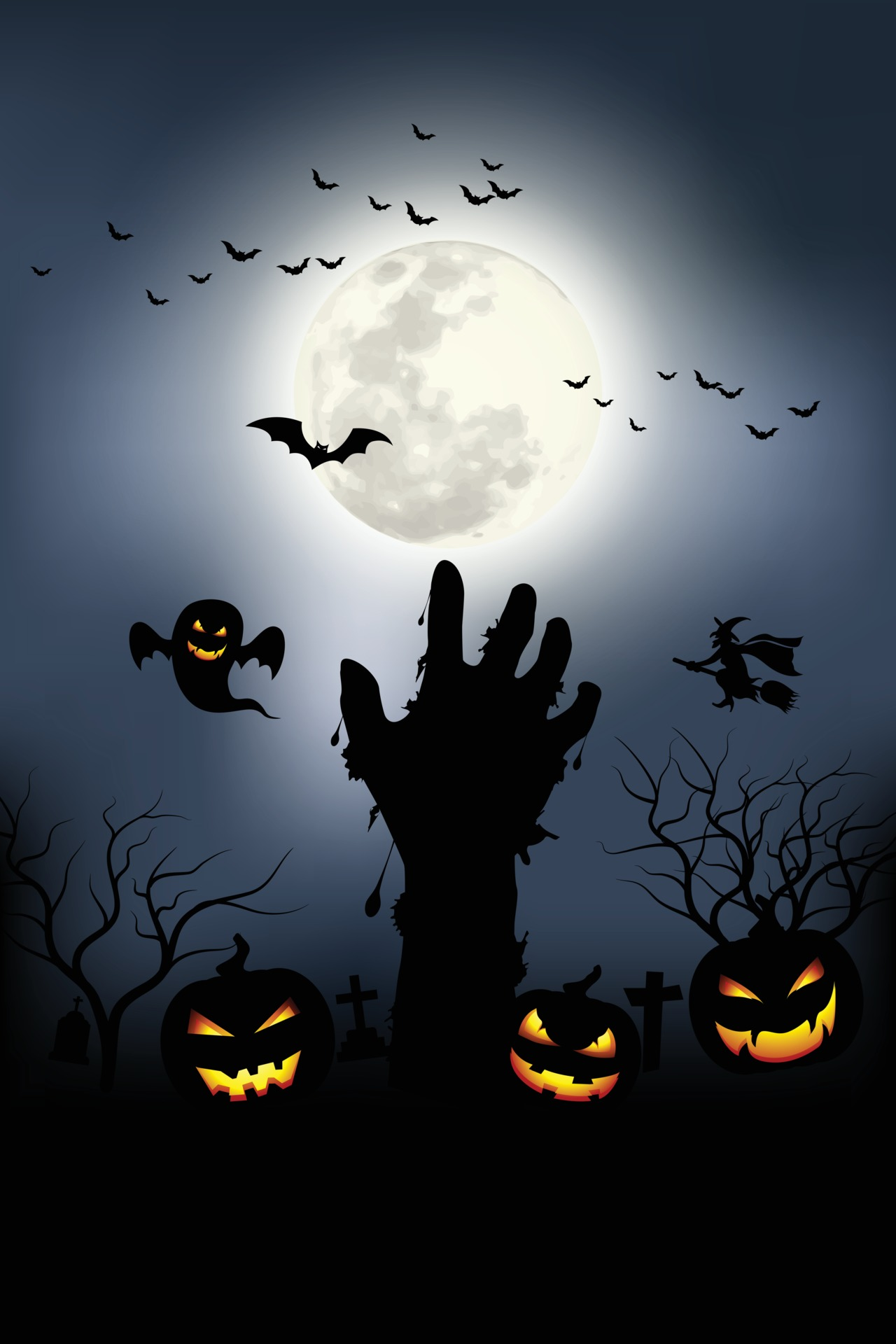 Get inspired for a new halloween costume party or find just the right cover or accompanying photo for one of your projects. Zombie Hands Rising In Dark Halloween Night Vector Illustrator 3307433 Vector Art At Vecteezy