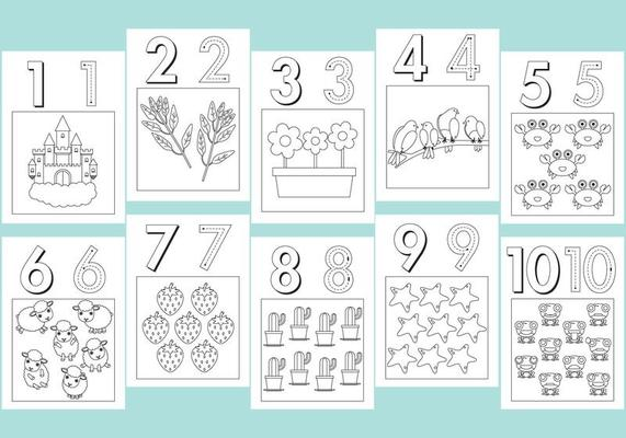 Numbers Coloring Pages Download Free Vectors Clipart Graphics Vector Art