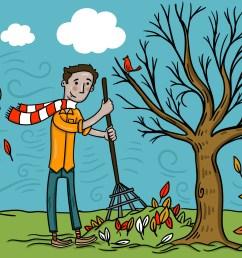 man raking fall leaves vector download free vector art stock graphics images [ 1400 x 980 Pixel ]