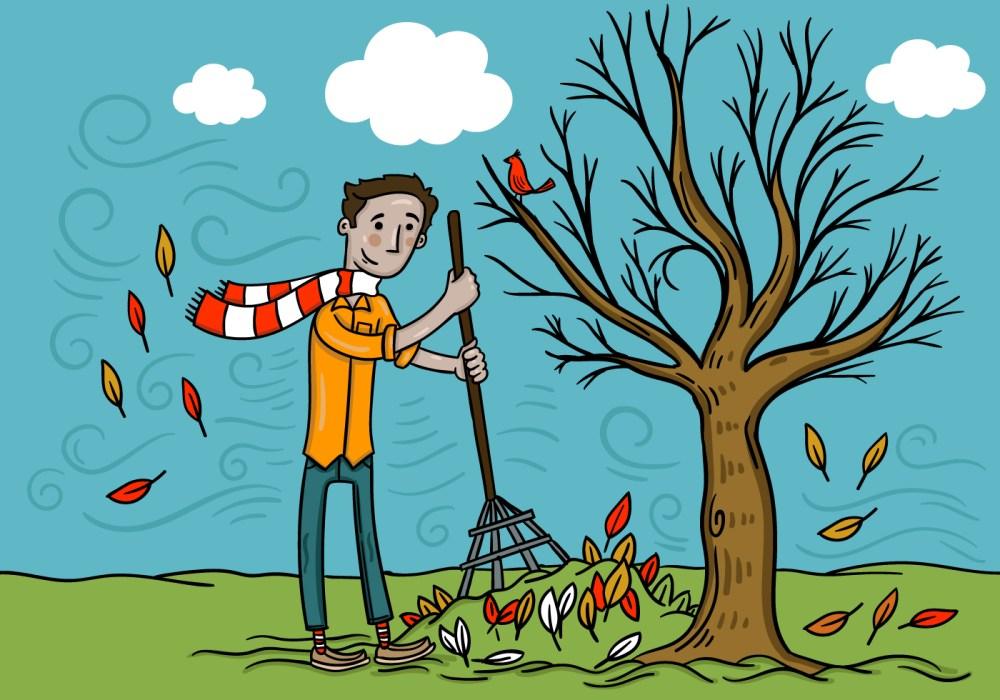 medium resolution of man raking fall leaves vector download free vector art stock graphics images