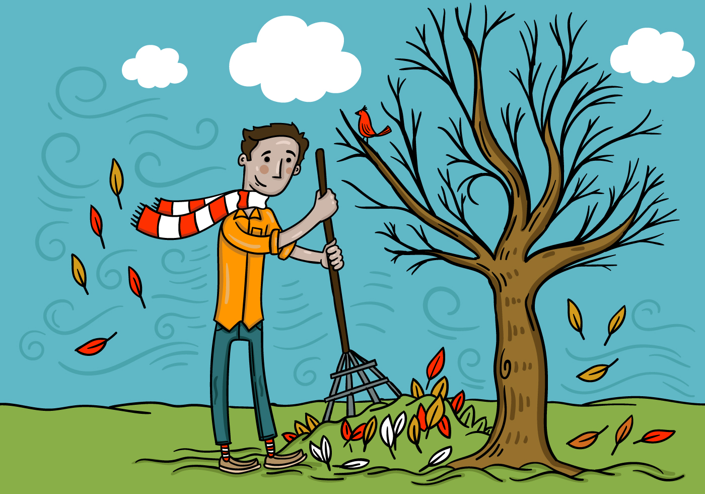 hight resolution of man raking fall leaves vector download free vector art stock graphics images