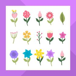 Flat Modern Flower Clipart Collection Download Free Vectors Clipart Graphics & Vector Art